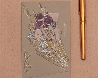 A violet and blue cornflowers - Wild flowers and herbs -  light green, gray, lilac, silver - blank handmade greeting card for any event OOAK