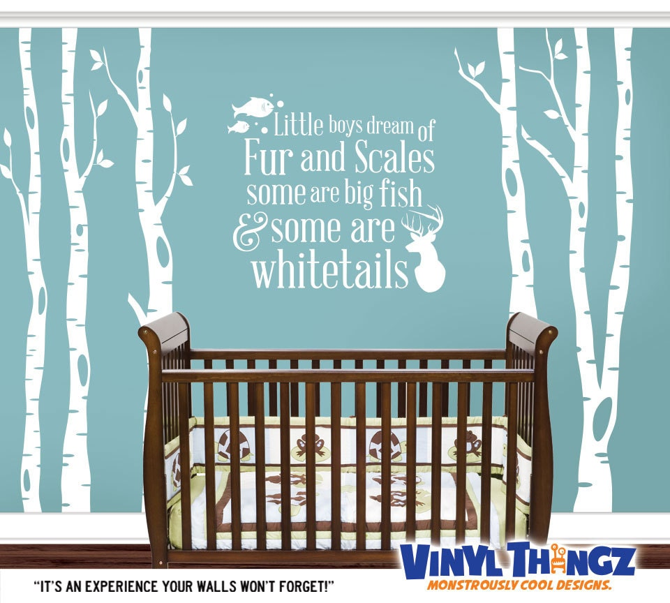 Tree decal nursery hunting fishing wall decal by for Hunting and fishing decals