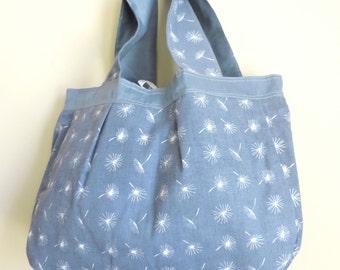 Fabric Tote - Small Beach Bag - Blue Tote Bag - Upcycled Bag - Printed Bag - Fashion Bag - Cloth Handbag