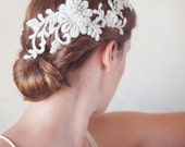 Lace Hair Wreath, Ivory embroidered lace hair vine, lace hair clips, wedding hair accessories, ivory floral hair vine, lace headpiece