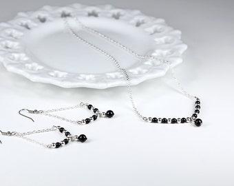 Trapeze Pearl Earrings Swarovski Black Pearls Triangle Geometric Chain Earrings