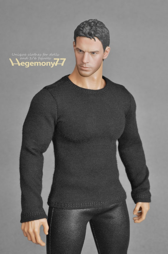 1/6th scale XXL black T-shirt for: Hot Toys TTM 20 size bigger action figures and male fashion dolls