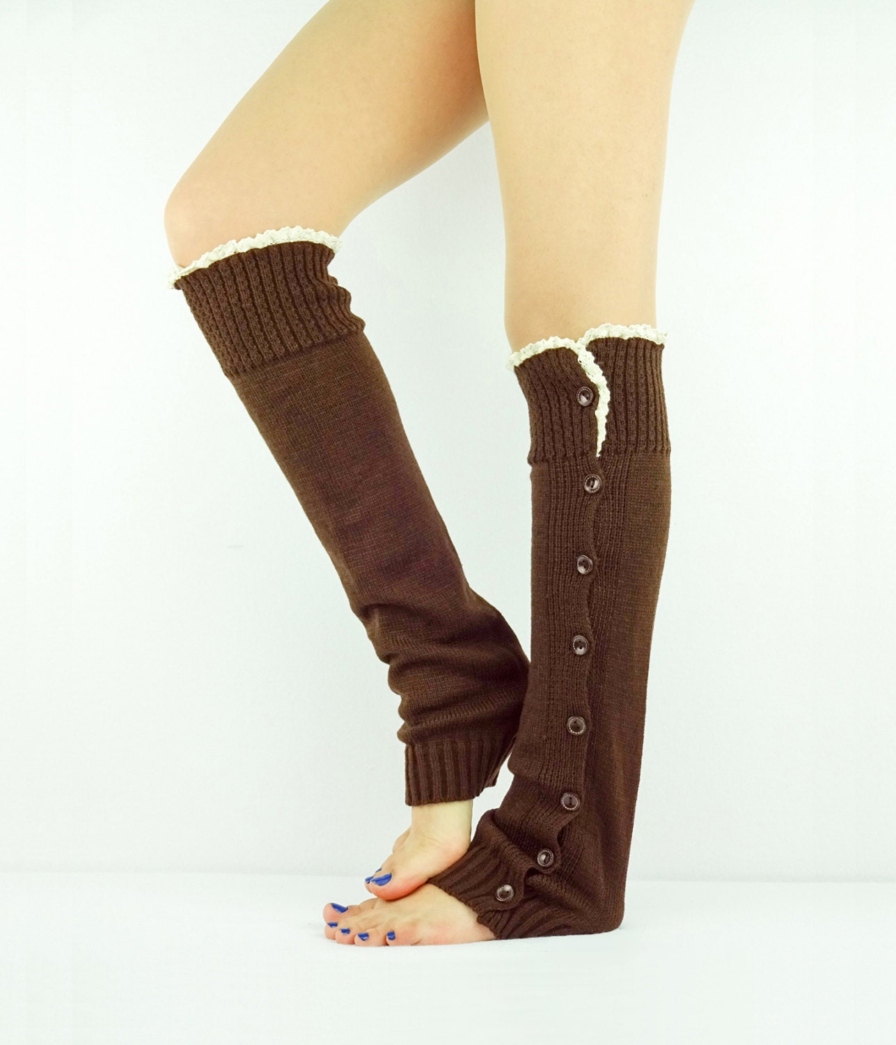 Lace Boot Socks BROWN Leg Warmers Brown Boot Socks By JuicyBows