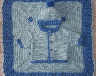 Baby Boy Blue Crochet Sweater Set with Leggings and Booties or Feety Pants and Car Blanket Perfect for Take Home Outfit or Baby Shower Gift