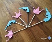 Cupcake Toppers: Gender Reveal Guns or Glitter Baby Shower - Die Cut Pink Girl Crown & Blue Boy Pistol Gun