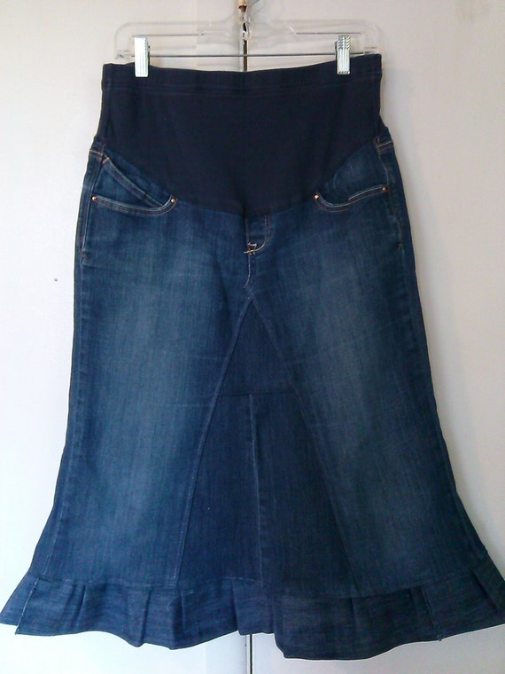maternity jean skirt knee length up cycled jean skirt with