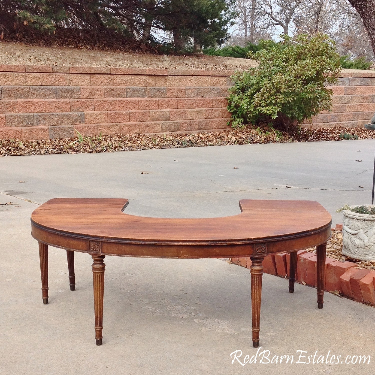 COFFEE TABLE Round Half Circle Drop Leaf Sides Antique