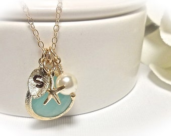Personalized nautical gold necklace - Gold filled - Starfish - Mint glass ~ Hand stamped initial - Pearl necklace - Gift - Best seller -