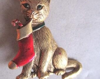 Vintage 1986 Christmas Cat Pin Brooch Holiday Costume Jewelry Vet Gift Figural Pin Never Worn JJ Jonette pet lover kitty stocking stuffer