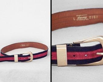 Suede Striped Belt 1970s Davey Brand Two Tone Cherry Red Navy Blue Size Medium