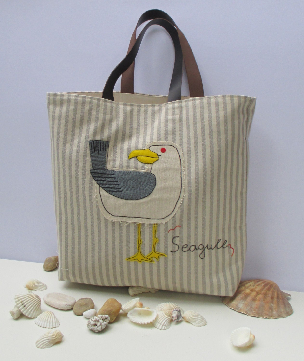 Seagull canvas tote bag les Mouettes hand embroideredhand