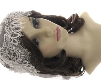 1920s style wedding  veil -  couture bridal cap veil - cap veil with blusher -  Opulence