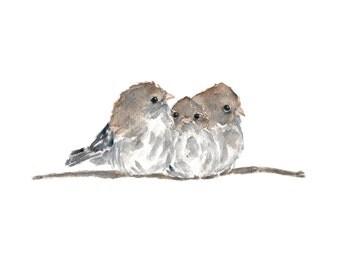 Watercolor birds, bird painting, watercolor nursery art, watercolor painting, bird art, woodland decor, fairywren painting, 10X8 print