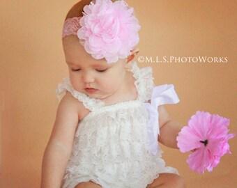Vintage Pink Lace Rose Baby Flower Headband