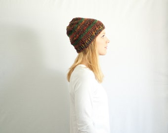 chunky knit hat womens slouchy hat beanie - wood
