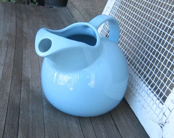 Blue Vintage Chefsware Lemonade Pitcher - Baby Blue 1950s Coors Beer Pitcher - Large Ball Pitcher - Retro Ceramic Water Pitcher