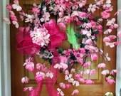 Sale! Was 84.00, -Spring summer Wreaths, Pink Wreath, Dogwood wreath, elegant wreath, Front Door Wreath, hydrangea, luxury wreaths
