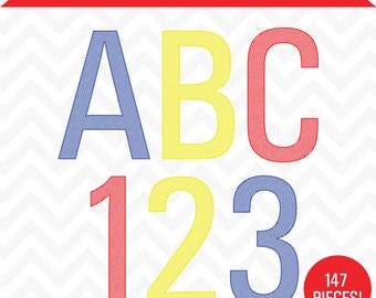 Digital Engraved Alphabet Primary Color Letters Clip Art