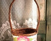 Summer Flower Girl Basket, Rustic Wedding, Pink Flower Girl Basket, Shabby Chic, by Green Orchid DS.