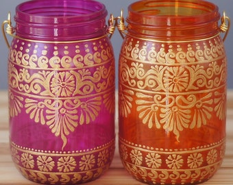 Henna Mason Jar Pair, Tangerine and Pink Tinted Glass with Gold Detailing