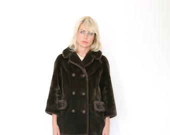 Vintage 70s Brown Faux Fur Car Coat M - L