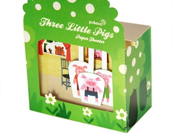 Three Little Pigs Paper Theater - DIY Paper Craft Kit - Paper Toy - Puppets