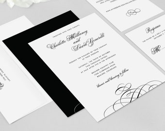Elegant Wedding Invitation - Charlotte Invitation Suite - Black and White, Script, Calligraphy, Suite - Deposit to Get Started