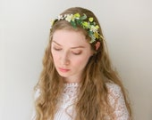 Sweet Meadow Headband - Flower and Fern Rustic Hair Accessory - Bride Bridesmaid - Woodland Wedding