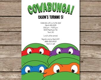 Ninja Turtle Birthday Invitation Teenage Mutant Party Boy Child Digital File Print