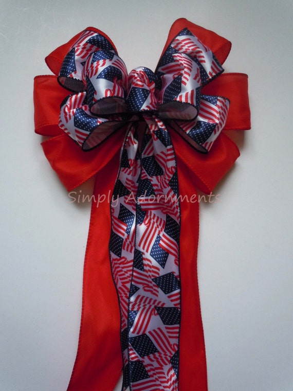 Red White and Blue Bow Patriotic Wreath Bow Fourth of July Wreath Bow Patriotic July 4th Decoration Independence Day Bow Election Day Bow