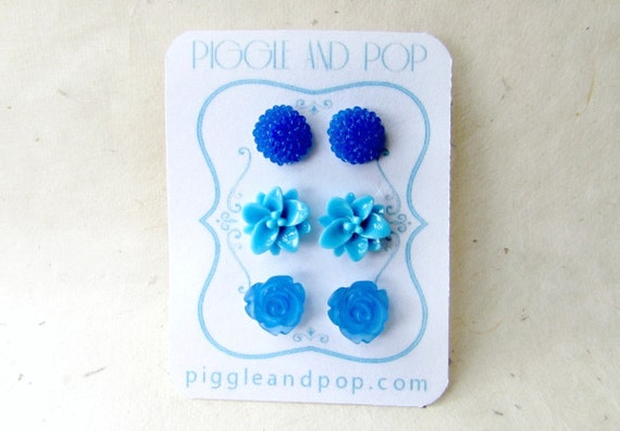 Blue Flower Stud Earring Set. Three Pairs of Floral Resin Cabochon Earring in Royal Blue, Sky Blue and Frosted Cobalt. Small Post Earrings.