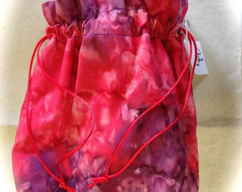 Project Bag drawstring in reds and purples batik