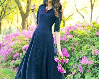 navy linen evening dress / long dress XXL,XXXL Maxi Dress / Maxi Kaftan / Extravagant Long Dress / Party Dress / Plus Size Dress A8021