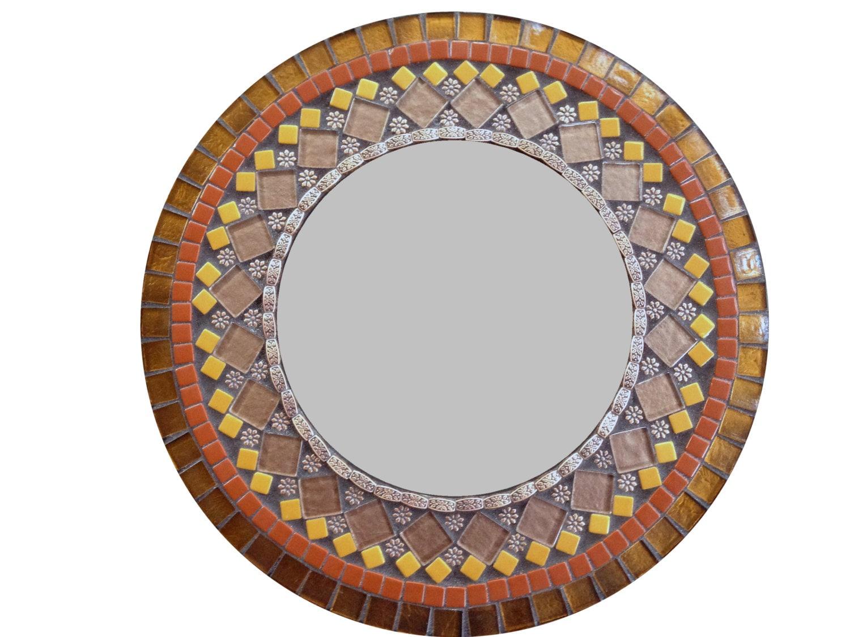 Round mirror brown mosaic mirror decorative wall mirror for Mosaic mirror