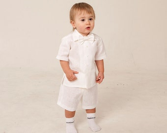 Browse our large selection of baby boys Christening, Baptism & Naming Day rompers, also perfect for weddings and other special occasions. Our rompers are available in a wide range of fabrics such as cotton, silk, linen and satin and colours including the traditional white and ivory or with a modern touch of blue, navy or beige incorporated into many styles.