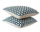 Two Custom Schumacher Betwixt Pillow Covers, Woven Blue and Ivory Geometric Design