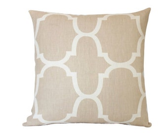 Kravet Riad Tan and Cream Pillow Geometric Pillow Cover