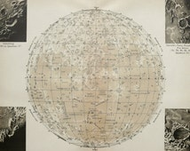 1900 Antique map of MOON CRATERS. Lunar Craters. Astronomy. 116 years old celestial chart.