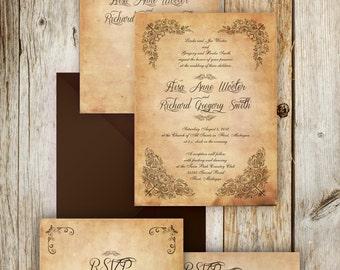 Vintage Printable Wedding Invitation suite - Vintage Wedding invites - {Brownsville Suite}