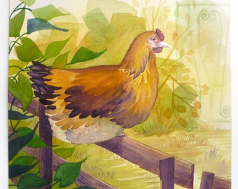 Chicken Painting, Chicken Art, Perching Hen, Watercolor Chicken, Hen on Fence, Farm Art, Yellow and Green, Watercolor Painting, Barnyard Art