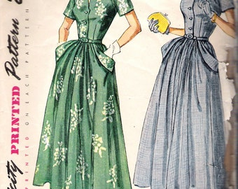Vintage 1949 Simplicity 2827 One Piece Dress Sewing Pattern Size 12 Bust 30""