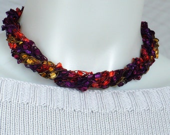 Purple Red & Gold Ladder Yarn Necklace - Crocheted Trellis Yarn Necklace, Fiber Necklace, Vegan Necklace, Handmade in the USA, Ready to Ship