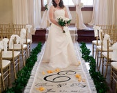 30ft Lace Burlap Wedding Aisle Runner with Custom Monogram Initials - Cream Ivory Burlap-Rustic Wedding-County Wedding