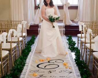 20ft lace burlap wedding aisle runner with custom monogram initials non slip slip