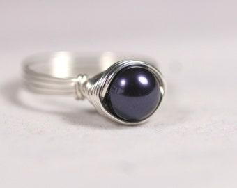 Purple Pearl Ring Wire Wrapped Jewelry Handmade Sterling Silver Jewelry Handmade Swarovski Pearl Ring Sterling Silver Ring