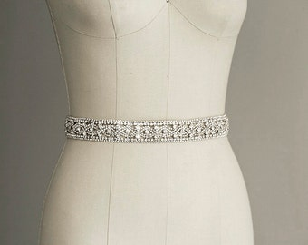 PRISCILLA - Crystal Sash Belt, Bridal Gown Belt, Long Rhinestone Sash, Wedding Dress Belt