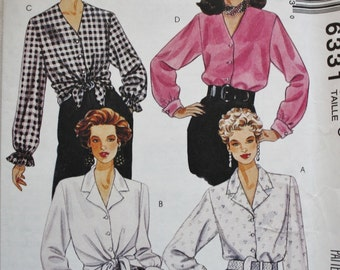 Front Button Blouse McCalls 6331 Sewing Pattern