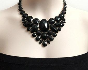 jet black bib rhinestone necklace