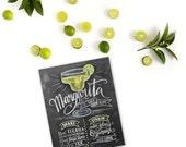 Bar Decor - Chalk Art - Margarita - Cinco de Mayo - Cocktail Recipe - Summer - Kitchen - Hand Lettered Print - Chalkboard Art