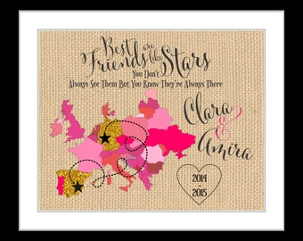 Unique birthday gifts for best friend gift, personalized glitter map europe world canada us BFF quote photo gift bestie present blush gold